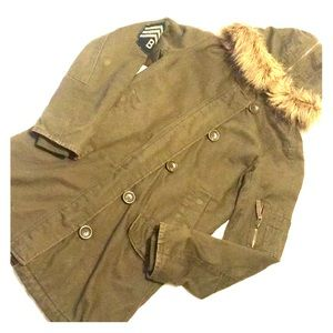 Army style button up fuzzy hood jacket